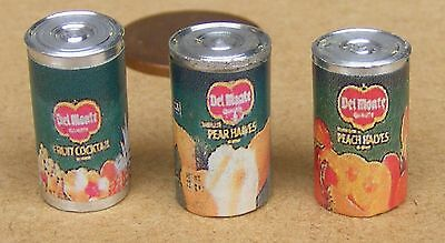 1:12 Scale Selection Of 3 Fruit Tins Tumdee Dolls House Miniature Food Cans FT2
