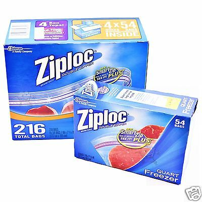 Freezer Bags ZIPLOC Bags Ziplock Double Zipper Heavy Duty Resealable Plastic Qt.