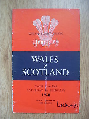 Wales v Scotland 1958 Signed Rugby Programme