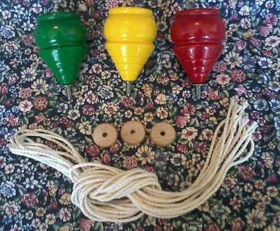 3 WOODEN TOY SPINNING TOPS with Strings **NEW* Red Yellow Green Wood Spin Top