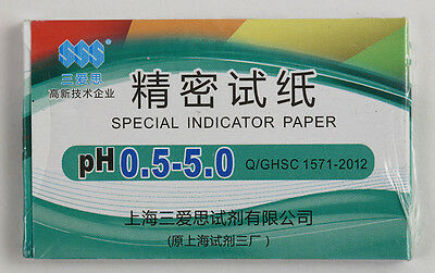 1 Pack / 80 strips of pH 0.5-5.0 Special Indicator Paper test Lab Water Soil