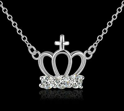 Women Girls 925 Sterling Silver Filled Cute Crown Pendant Necklace With Zircon