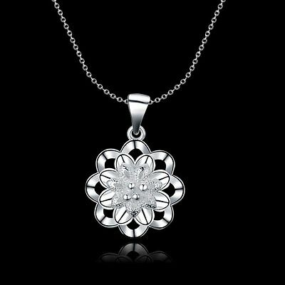 New Women Girls 925 Sterling Silver Filled Cute Flower Pendant Necklace Gift