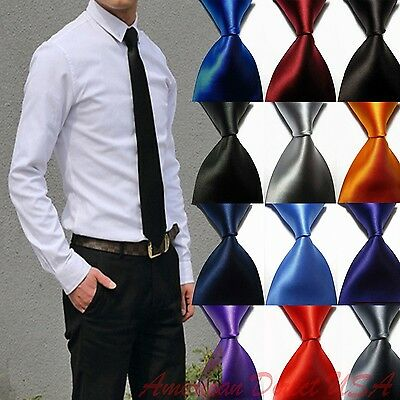Hot! Solid Plain Classic 100%New Silk Jacquard Woven Necktie Men's Tie