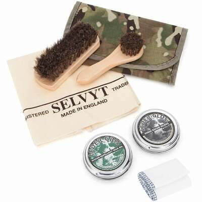 Deluxe Shoe Shine Polishing Kit Army Boot Cleaning Cloth Brushes Polish Pouch