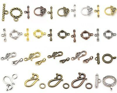 Tibetan Silver color Heart Toggle Clasps 6 sets H0042