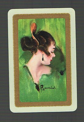 "Swap Playing Cards 1 VINT ""THE SPANISH GIRL""CHIC LADY GREEN  ART W BARRIBAL BA51"