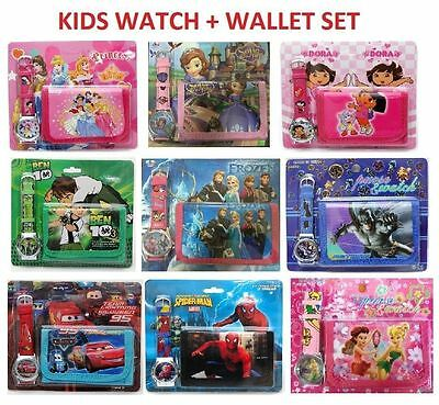 New Watch + Wallet Cars Spiderman Frozen Ben 10 Dora Kids Girls Boys Gift Toys