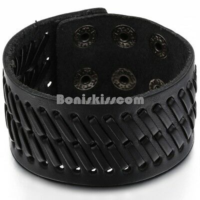Super Wide Black Leather Men's Boys Adjustable Cuff Strap Wristband Bracelet