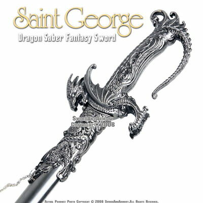 Saint George Dragon Saber Fantasy Medieval Knight Sword Metal Scabbard