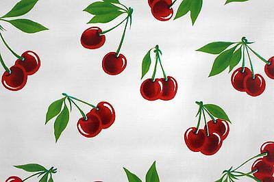 White Cherries Mexican Oilcloth Tablecloth PVC Cotton Waterproof 50 X 120 Cm