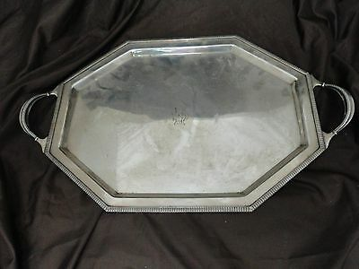 Small Octagonal Silver Plated Tray, Art Deco 1920-40, English Good Shape & Order
