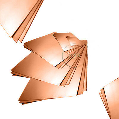Copper Sheet Plate 05,0.7, 0.9 or 1.2 mm Thick, Cut Sizes Available C101 Grade