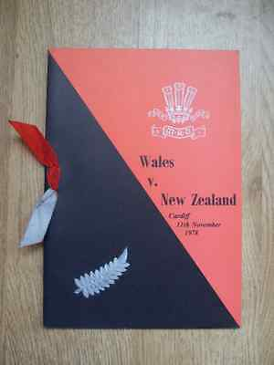 Wales v New Zealand 1978 Rugby Dinner Menu