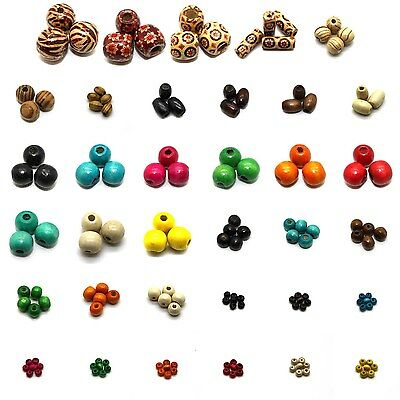 Wood Beads, Printed, Natural, Drawbench, & Dyed, Lead Free, Many Sizes & Colors