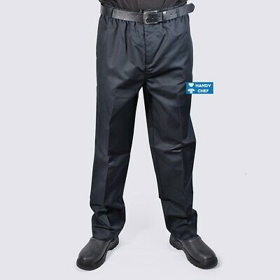 Chef Pant Black - Elastic, Drawstring & Zip Fly, Belt Loops - Quality Chef Pants