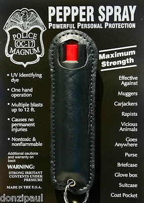 Police Magnum pepper spray .75oz Black Halo Keychain Holster Defense Security