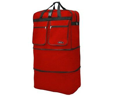 "40"" Red Rolling Wheeled Duffle Bag Spinner Suitcase Expandable Luggage - New"