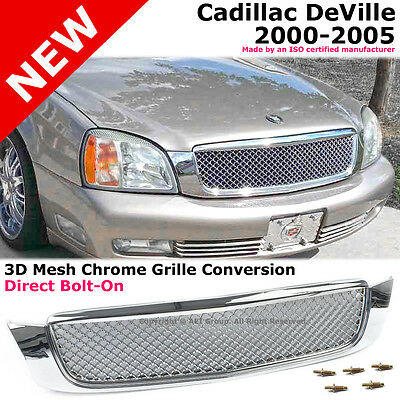 Cadillac DeVille 00-05 Polished Chrome 3D Mesh Style Front Bumper Hood Grille