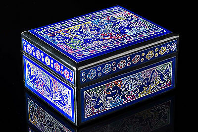 PURPLE JEWEL BOX LACQUER WOOD WITH BIRDS & CATS OLINALA MEXICAN FOLK ART BX16