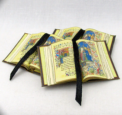 OPEN MEDIEVAL ILLUMINATED BOOK of HOURS Miniature Book Dollhouse 1:12 SCALE