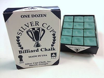 Quality USA Silver Cup Pool Snooker Billiard Cue Tip Table Chalk GREEN 12 Blocks