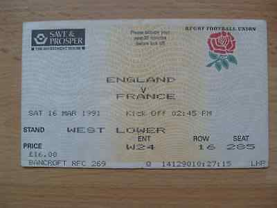 England v France 1991 Used Rugby Ticket