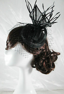 Black Fascinator Sinamay Races Hat Melbourne Cup Spring Carnival Derby Dahlia