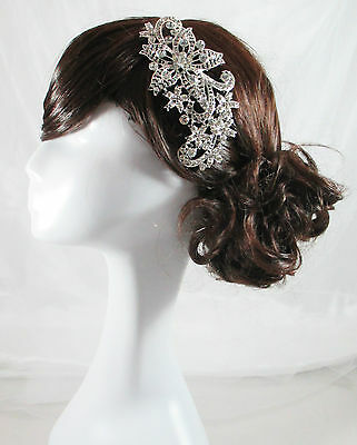 Vintage Wedding Head Piece Silver Crystal Bride Comb Hair Accessories Delilah