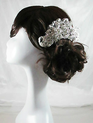 Crystal Wedding Head Piece Vintage Bridal Lace Comb Hair Accessories Tiara Ebony