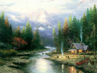 "Thomas Kinkade ""The End Of A Perfect Day II"" CANVAS S/N w/COA @EBAY LOW-OFFER?"