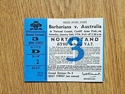 Barbarians v Australia 1976 Used Rugby Ticket