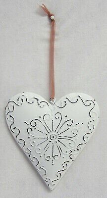 French Provincial Cream Metal Hanging Heart Decoration & Pressed Swirl BR713SW