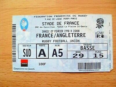 France v England 1998 Used Rugby Ticket