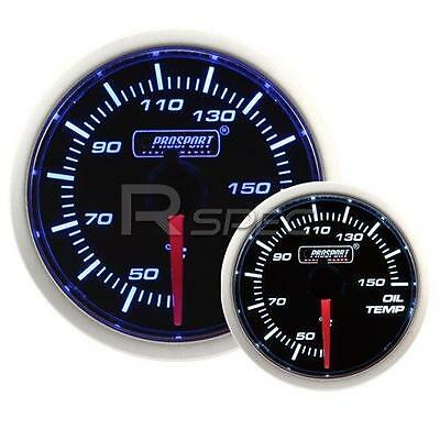 Prosport 52mm Super Smoked Blue / White Oil Temperature Deg C gauge