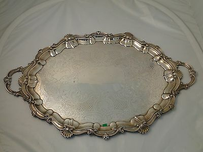 Large Tray Silver Plated Circa 1860 Antique Engraved Cast Shell Border & Handles