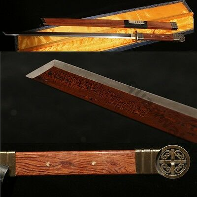 "42"" FULL TANG BLADE ROSEWOOD SHEATH CHINESE SWORD RED BLACK  SHARP FOLDED STEEL"