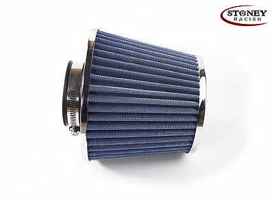 Stoney Racing Twin Cone Air Filter 63mm Neck Blue Air Intake Induction Sports