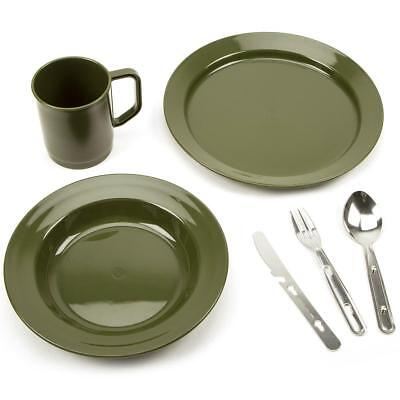Camping Cutlery Set Plastic Mug Plate Bowl KFS Knife Fork Spoon Army Military