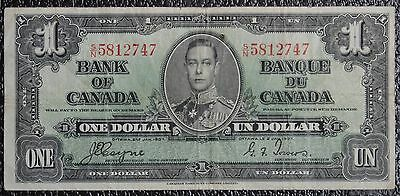 BANK OF CANADA 1937 $1 NOTE-Prefix S/N-Signed Coyne & Towers-NCC