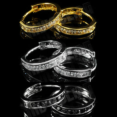 18k Gold Silver Black Iced Out CZ HOOP Huggie Men Women HipHop Leverback EARRING