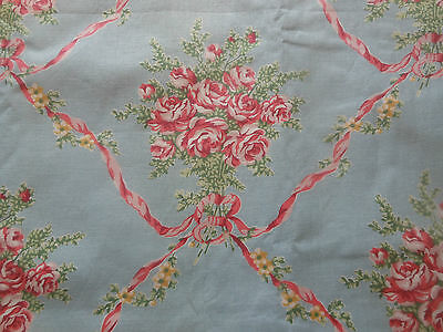 Vintage Roses Bouquet Ribbons & Bows Cotton Fabric ~ Blue Coral Pink Yellow