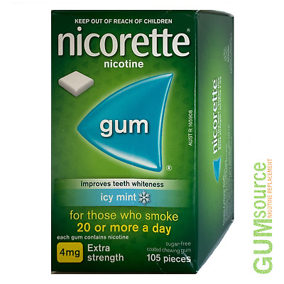Nicorette 4mg COATED ICY MINT  1 box 105 pieces Nicotine Quit Smoking Gum