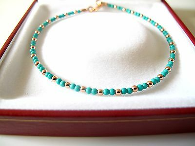14k rose red gold beads round bead turquoise emerald bracelet charm solid gem