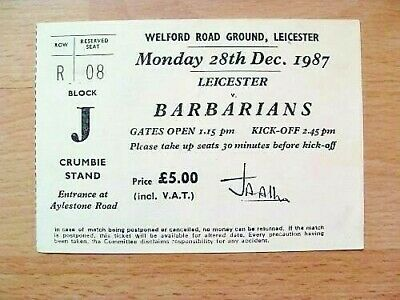 Leicester v Barbarians 1987 Used Rugby Ticket