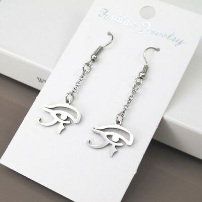 Silver Dangle Stainless Steel Egypt Eye Of Horus Ancient Egyptian Earrings Hooks