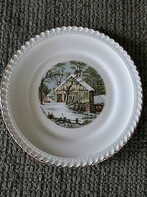 """HARKERWARE 6.25"""" CURRIER & IVES """"THE OLD HOMESTEAD IN WINTER"""" GOLD TRIMMED PLATE"""