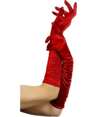 Sexy Smiffy's Temptress Red 18-Inch Elbow Length Gathered Satin Evening Gloves