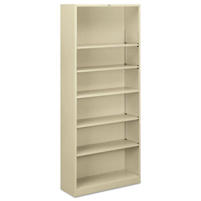 "6 Shelf Metal Bookcase, 34-1/2""x12-5/8""x81-1/8"", Putty HONS82ABCL"
