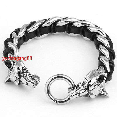 2014 New Men's Jewelry Black Leather Bracelet With Stainless Steel Wolf Head